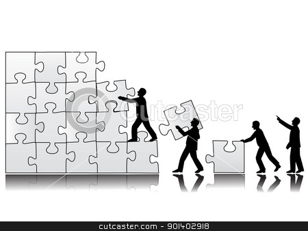 Teamwork symbol stock vector clipart, Vector illustration of peoples arrange a puzzle ( Team work symbol) by Surya Zaidan