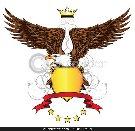 Eagle with emblem stock vector clipart, Vector illustration of eagle with emblem by Surya Zaidan