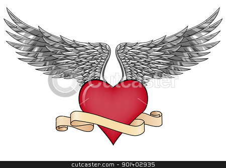 Love with wings stock vector clipart, Vector illustration of love symbol with wings by Surya Zaidan
