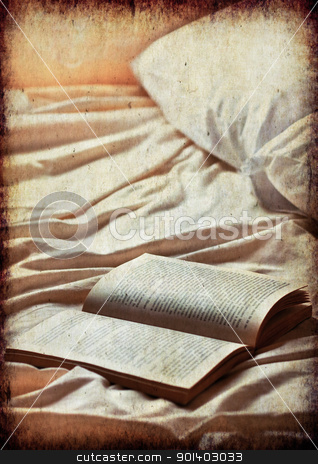 Book on bed,vintage look stock photo, Open book on a empty bed.Heavy textured for vintage look by borojoint