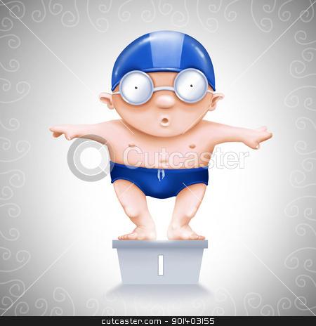 Swimmer on starting block stock photo, Little Swimmer on starting block number one by Giordano Aita