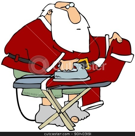 Santa Ironing His Pants stock photo, This illustration depicts Santa Claus ironing his pants while in his underwear. by Dennis Cox
