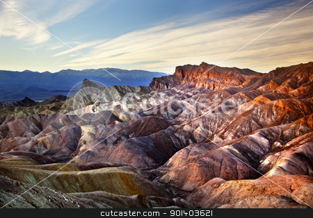 Zabruski Point Manly Beacon Death Valley National Park Californi stock photo, Zabriski Point Manly Beacon Mudstones form Badlands  Death Valley National Park California by William Perry