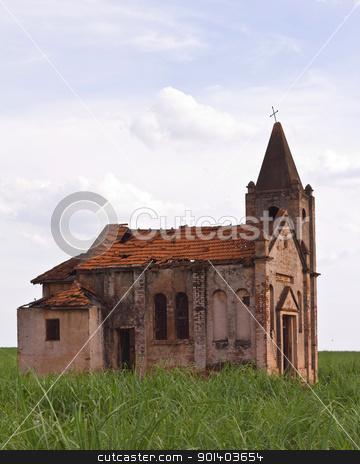 Ruins of an abandoned church stock photo, Ruins of an abandoned church in the field by marphotography