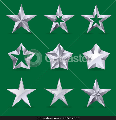 Set of different stars icons stock photo, Set of different stars icons for your design. Illustration on green background by dvarg