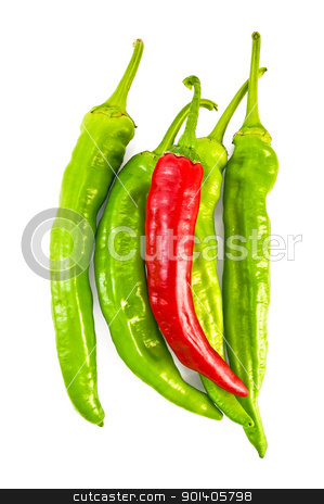 Green and red cayenne stock photo, Several green and one red capsicums isolated on white background by rezkrr