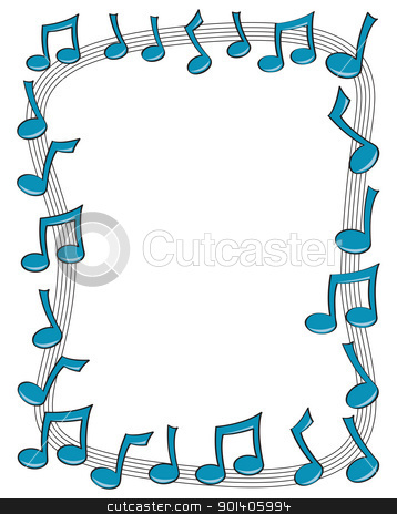 Music Note Border stock vector clipart, A border made up of blue music notes dancing on top of a curving staff. by Jamie Slavy