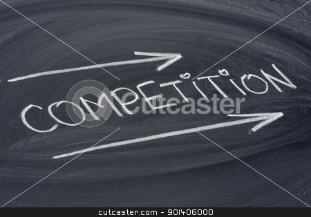competition, word on blackboard stock photo, competition, word in white chalk handwriting on blackboard by Marek Uliasz