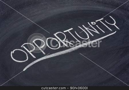 opportunity, word on blackboard stock photo, opportunity, word in white chalk handwriting on blackboard by Marek Uliasz