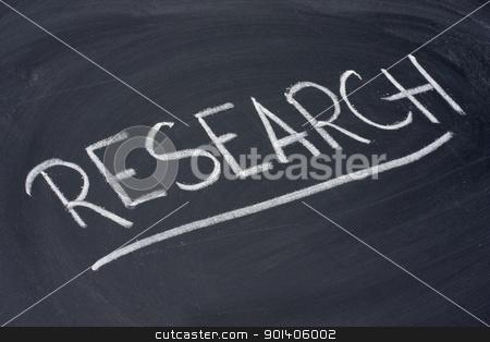 research word on blackboard stock photo, research word in white chalk handwriting on blackboard by Marek Uliasz