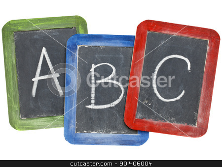alphabet (A, B, C) on blackboards stock photo, first letters of alphabet (A, B, C) in white chalk handwriting on three small slate blackboards by Marek Uliasz