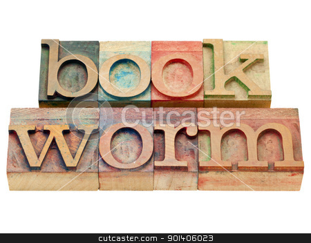 bookworm in letterpress type stock photo, bookworm - isolated text in vintage wood letterpress printing blocks by Marek Uliasz