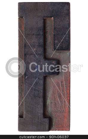 antique letter f stock photo, letter F - isolated antique wood letterpress printing  block stained by color inks by Marek Uliasz