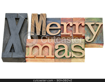 Merry Xmas in letterpress type stock photo, Merry Xmas greetings - isolated text in vintage wooden letterpress printing blocks by Marek Uliasz