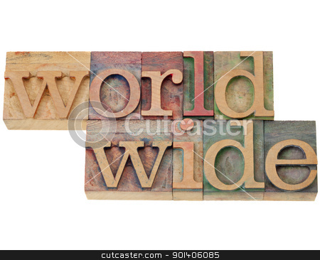 worldwide word in letterpress type stock photo, worldwide - isolated word in vintage wood letterpress printing block by Marek Uliasz