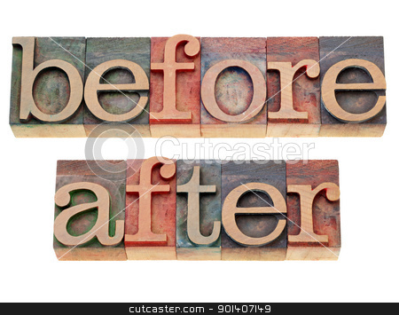 before and after words stock photo, before and after -  isolated words in vintage wood letterpress printing blocks by Marek Uliasz