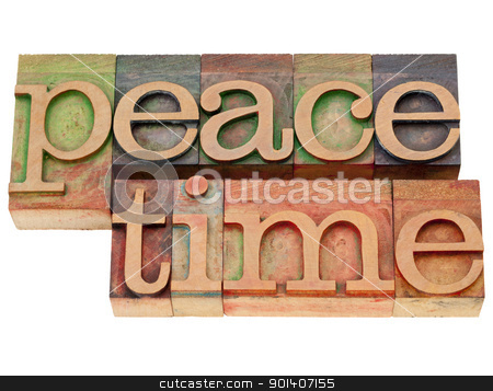 peacetime word in letterpress type stock photo, peacetime  (a period without war) - isolated text  in vintage wood letterpress type by Marek Uliasz