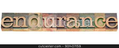 endurance word in letterpress type stock photo, endurance - isolated word in vintage wood letterpress type by Marek Uliasz