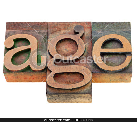 age word in letterpress type stock photo, age - isolated word in vintage wood letterpress printing blocks stained by color inks by Marek Uliasz