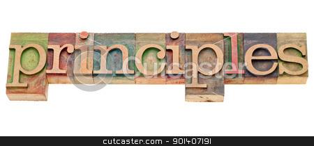 principles word in letterpress stock photo, principles - isolated word in vintage wood  letterpress type by Marek Uliasz