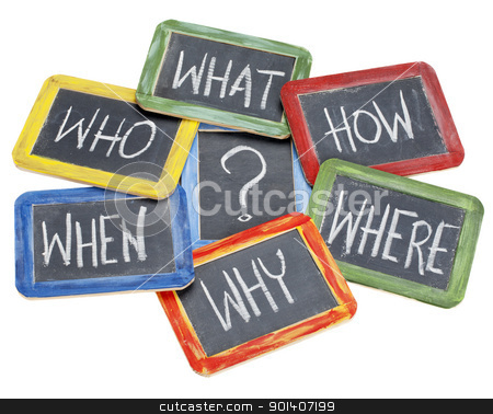 questions, brainstorming, decision making stock photo, what, when, where, why, how, who questions - white chalk handwriting on vintage slate blackboards in colorful wood frames by Marek Uliasz