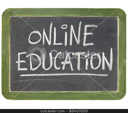 online education blackboard sign stock photo, online education text  in white chalk handwriting on a vintage slate blackboard, isolated on white by Marek Uliasz