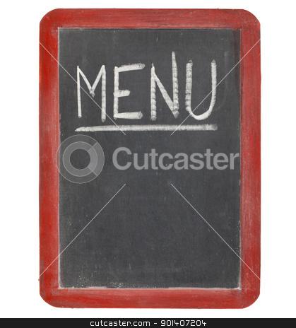menu blackboard sign stock photo, menu  word in white chalk handwriting on a vintage slate blackboard, copy space below, isolated on white by Marek Uliasz