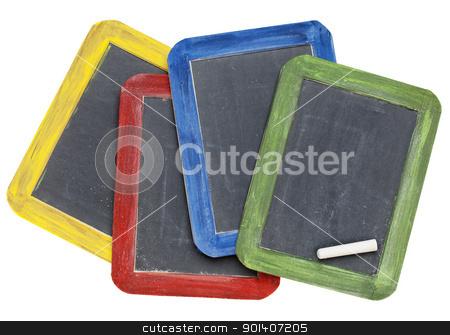 blank slate blackboards stock photo, four blank vintage slate blackboards in colorful wood frames with chalk, isolated on white by Marek Uliasz