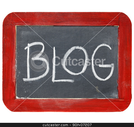 blog blackboard sign stock photo, blog sign - white chalk handwriting on old slate blackboard with grunge red wood frame by Marek Uliasz