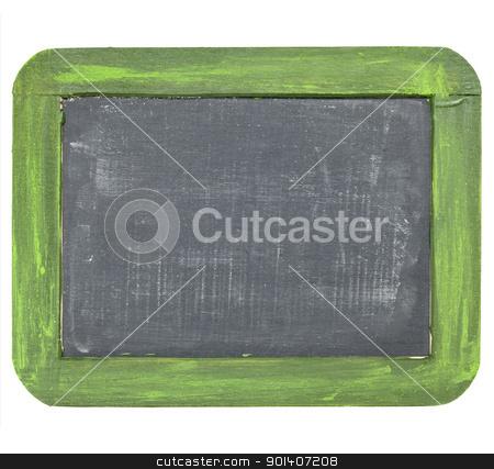 vintage blank slate blackboard  stock photo, vintage blank slate blackboard with white chalk dust and texture, grunge green wood frame by Marek Uliasz