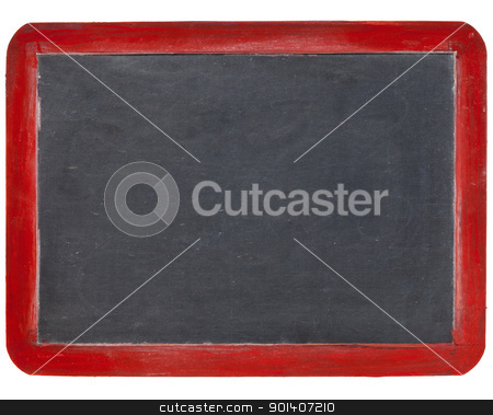slate blackboard in red wood stock photo, old blank slate blackboard in red wood frame, isolated on white by Marek Uliasz