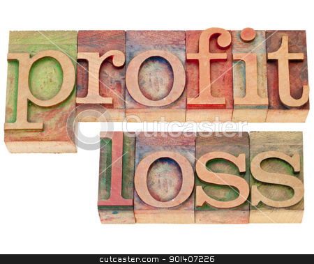 profit and loss in letterpress type stock photo, profit and loss - isolated words  in vintage wood letterpress type by Marek Uliasz