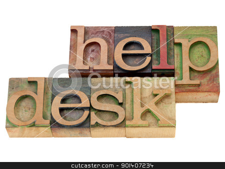 help desk in letterpress type stock photo, help desk - isolated words in vintage wood letterpress printing blocks by Marek Uliasz