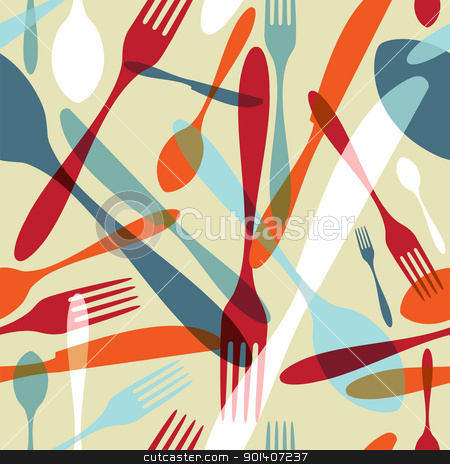 Cutlery transparent silhouette pattern background  stock vector clipart, Transparency silverware icons seamless pattern background. Fork, knife and spoon silhouettes on different sizes and colors. Vector file avaliable. by Cienpies Design