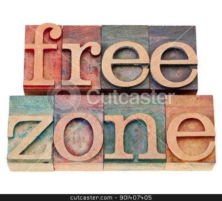 free zone in letterpress type stock photo, free zone  - isolated text  in vintage wood letterpress type by Marek Uliasz