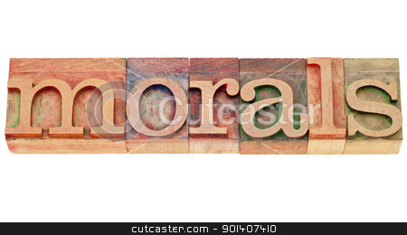 morals word in lettepress type stock photo, ethics concept - morals - isolated word in vintage wood letterpress type by Marek Uliasz