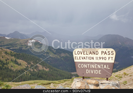 Loveland Pass - continental divide stock photo, a sign at Loveland Pass and continental divide in Colorado Rocky Mountains  - a summer cloudy and foggy day by Marek Uliasz