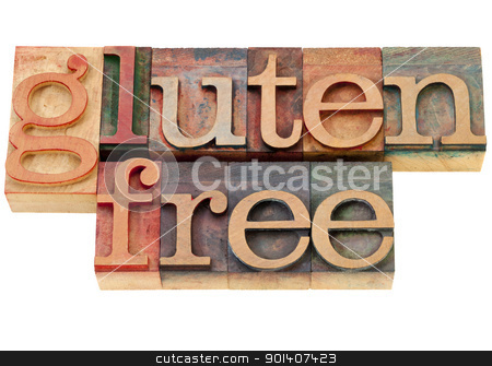 gluten free text stock photo, gluten free diet concept - isolated words in vintage wood letterpress printing blocks by Marek Uliasz