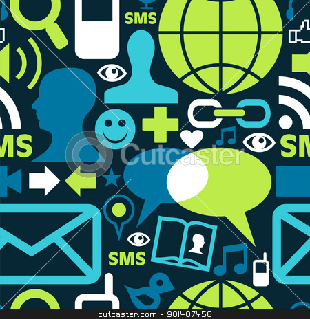 Social media network icons pattern stock vector clipart, Social media network icons set seamless pattern background in green palette. Vector file available. by Cienpies Design