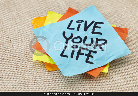 live your life reminder stock photo, live your life - spiritual reminder - handwriting on a blue sticky note against canvas by Marek Uliasz