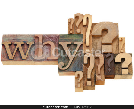 why question abstract stock photo, why question with multiple question marks - isolated vintage wood letterpress printing blocks by Marek Uliasz