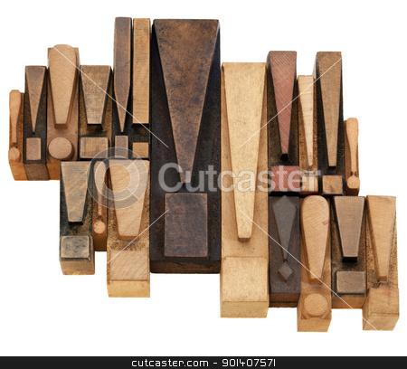 warning or alert  concept  stock photo, warning or alert  concept - a set of exclamation points - vintage wood letterpress printing blocks by Marek Uliasz