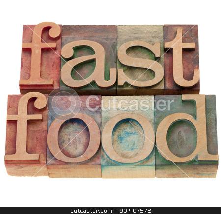 fast food stock photo, fast food - isolated words in vintage wood letterpress printing blocks by Marek Uliasz