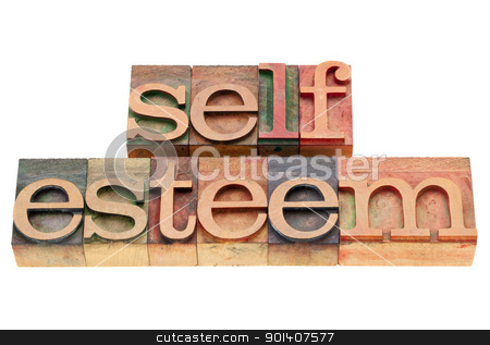 self esteem concept stock photo, self esteem - isolated text in vintage wood letterpress printing blocks by Marek Uliasz