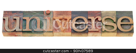 universe word in letterpress type stock photo, universe - isolated word in vintage wood letterpress printing blocks by Marek Uliasz