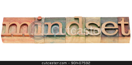 mindset stock photo, mindset  - isolated word in vintage wood letterpress printing blocks by Marek Uliasz