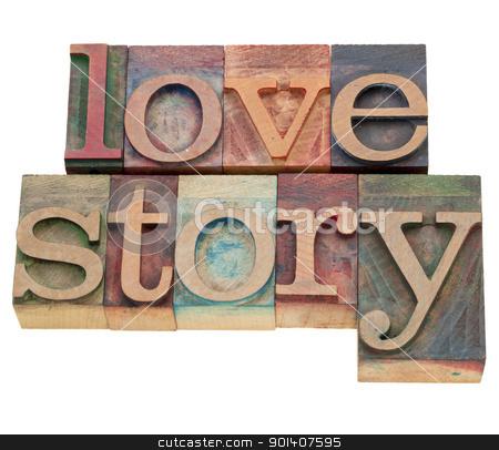 love story stock photo, love story - isolated words in vintage wood letterpress printing blocks by Marek Uliasz