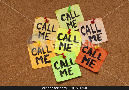 call me reminder stock photo, several sticky notes on cork bulletin board with reminder - call me by Marek Uliasz