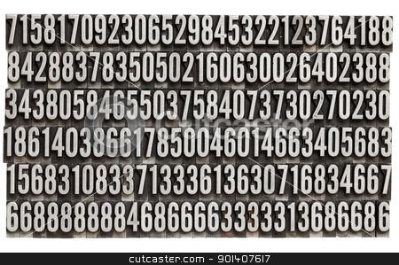 random numbers in metal letterpress type stock photo, random numbers in vintage grunge metal letterpress printing blocks, isolated on white by Marek Uliasz