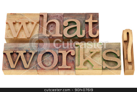 what works question stock photo, what works -  isolated question in vintage wood letterpress printing blocks by Marek Uliasz